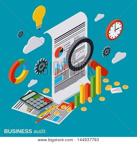 Business audit, financial analytics, statistics flat isometric vector concept
