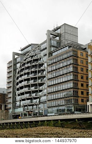 LONDON ENGLAND - JULY 8 2016: Riverside House - a bankside office block at Riverside House next to Southwark Bridge has changed hands for Ј122 million in 2014.