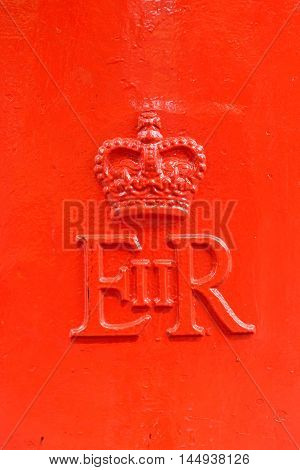 LONDON ENGLAND - JULY 8 2016: EIIR symbol on London post box.