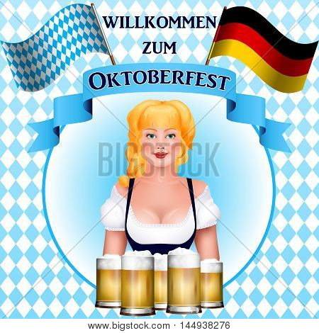 Beautiful Blonde Girl With A Beer. Oktoberfest Poster.