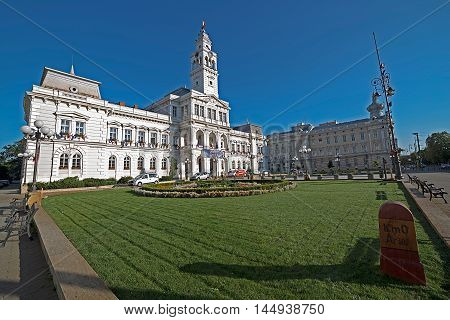 ARAD ROMANIA - AUGUST 26 2016: Administrative Palace from Arad is a building constructed during 1872-1875 which today houses the City Hall Arad. Days of de City.