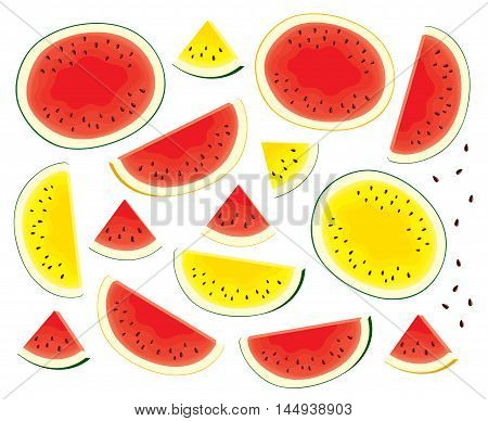 Vector set of isolated, fresh, red, yellow watermelon, watermelon with yellow peel half and slices. Colorful illustration on white background