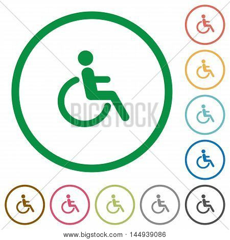 Set of disability color round outlined flat icons on white background