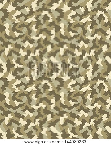 Seamless brown digital fashion camouflage pattern, vector illustration