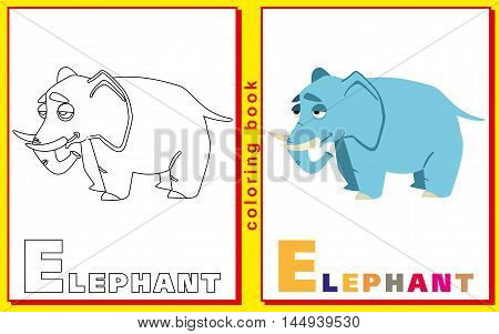 elephant. Children coloring with the letters. vector image