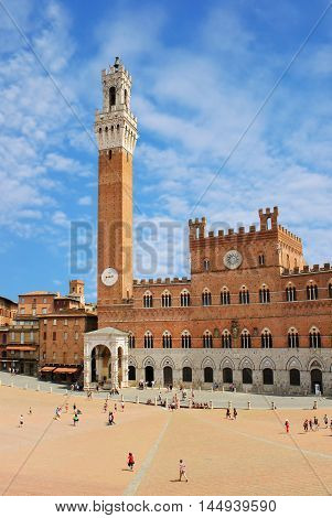 view of Piazza del Campo in Siena Italy