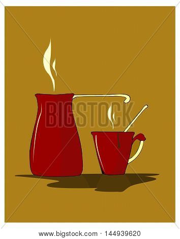Hand drawn vector illustration of a red turka (coffee pot) and a cup of hot coffee.