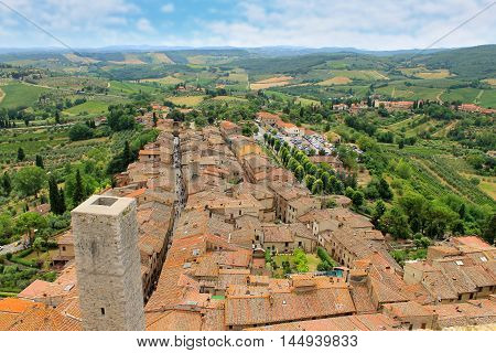 Beautiful view of the medieval town of San Gimignano Tuscany Italy