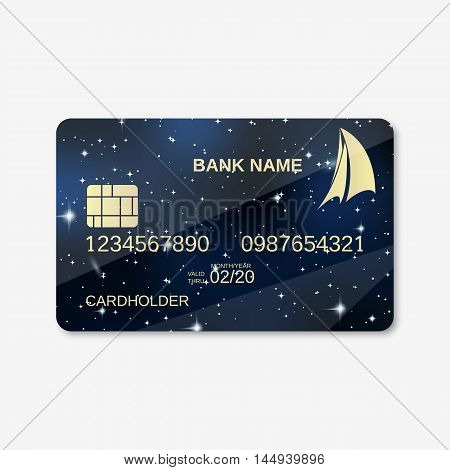 Bank card, credit card design vector template. Night sky background