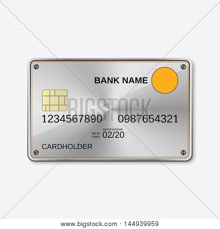 Bank card, credit card design template. Abstract metallic vector background