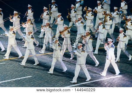 MOSCOW RUSSIA - AUGUST 26 2016: Spasskaya Tower international military music festival. The President's band at the Red Square