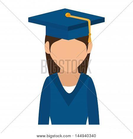 woman wearing graduate hat academic graduation university achivement vector illustration