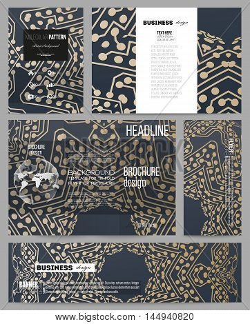 Set of business templates for presentation, brochure, flyer or booklet. Golden microchip pattern, abstract template, connecting dots and lines, connection structure. Digital scientific background.
