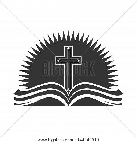 holy bible religion cross open book christianity catholicism silhouette vector illustration
