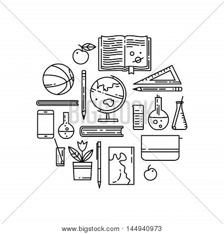 Set of school flat line vector icon. Linear books, basketball ball, globe and more. Sports, chemistry, geography, mathematics, literature
