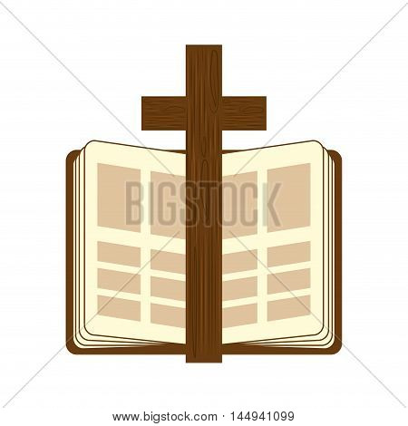 holy bible religion wooden cross open book christianity catholicism silhouette vector illustration
