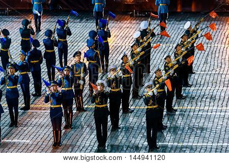 MOSCOW RUSSIA - AUGUST 26 2016: Spasskaya Tower international military music festival. The Honor Guard of the Presidential Regiment at the Red Square