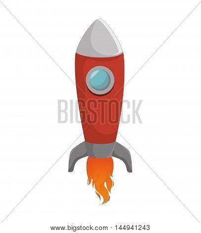 rocket spacecraft transport vehicle universe space flame vector illustration