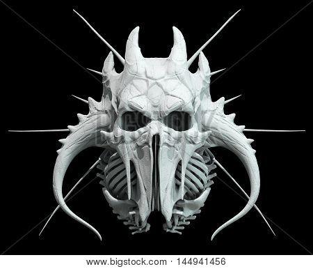 Mad skull design on black background for Halloween.