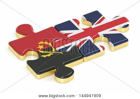 Great Britain and Angola puzzles from flags 3D rendering