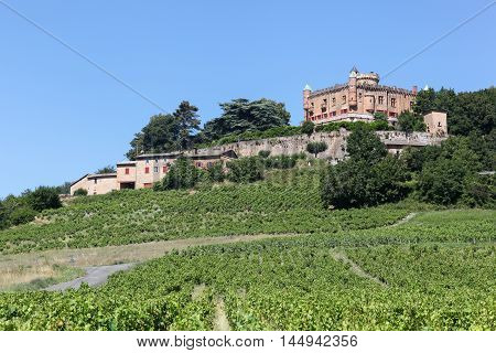 Castle of Montmelas with vineyards in Beaujolais, France