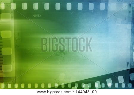 Filmstrips blue and green background