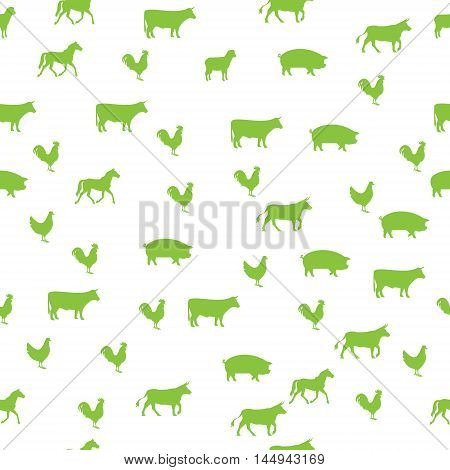 Seamless background with domestic animals, green color