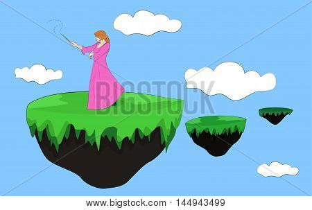 Sorceress with magic wand on an island floating in the sky. Vector illustration