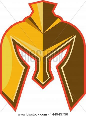 Illustration of a spartan helmet viewed from front set on isolated white background done in retro style.