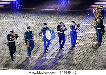 MOSCOW RUSSIA - AUGUST 26 2016: Spasskaya Tower international military music festival. The Greek Hellenic Military Massed Band at the Red Square