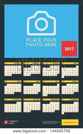 Wall Calendar Poster for 2017 Year. Vector Design Print Template with Place for Photo. Dark Background. Week Starts Sunday. 12 Months. Stationery Design