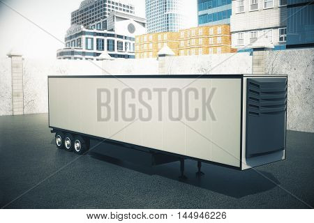Side view of blank light semi-trailer on city background. Mock up 3D Rendering