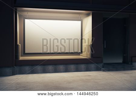 Storefront with empty billboard at night. Mock up 3D Rendering
