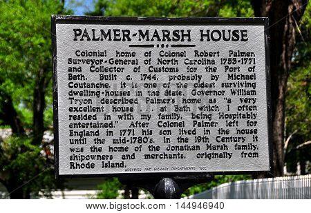 Bath North Carolina - April 25 2016: State historic sign at the c. 1744 Colonel Robert Palmer House *