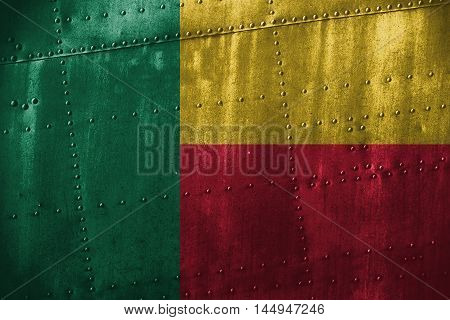 Metal Texutre Or Background With Benin Flag