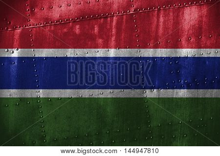 Metal Texutre Or Background With Gambia Flag