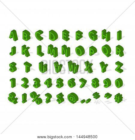 Isometric alphabet typography text and isometric alphabet perspective letter art. Isometric alphabet latin number retro 3d typeface. Isometric alphabet font 3D letters for web mobile device vector.