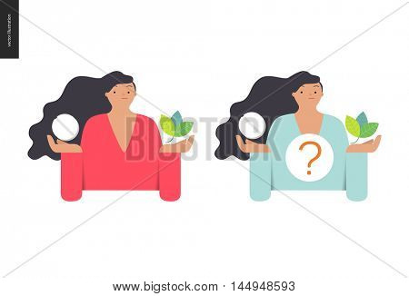 Choosing between an antibiotic pill and natural herbal treatment. Flat vector cartoon illustration of a woman holding a tablet in one hand and plant leaves in another, with a question sign above.