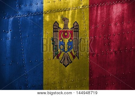 Metal Texutre Or Background With Moldova  Flag