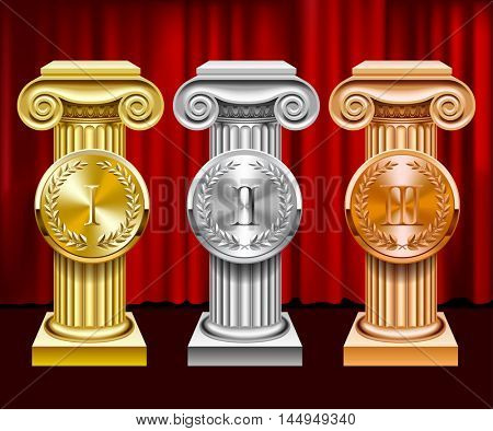 Gold, silver and bronze ancient columns and round medals with laurel wreaths on red curtain background. Classic award symbols. 3D illustration. Contains the Clipping Path