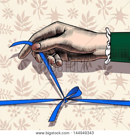 Woman's hand untying bow of blue ribbon on decorative plants seamless pattern background. Vintage colorful engraving stylized drawing. Contains the Clipping Path