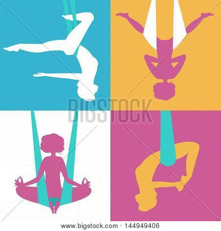 Silhouettes of girls exercising yoga in the air. Vector isolated illustration.