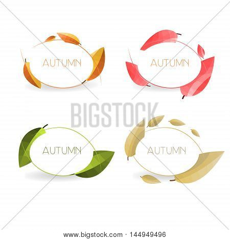 Four autumn banners with colorful leaves in golden frames. Vector .