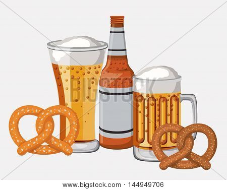 bottle glass beer pretzel traditional icon. Colorful and Flat design. Vector illustration