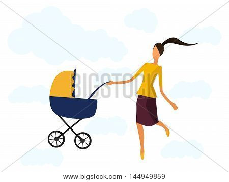Happy mother with a baby carriage vector illustration