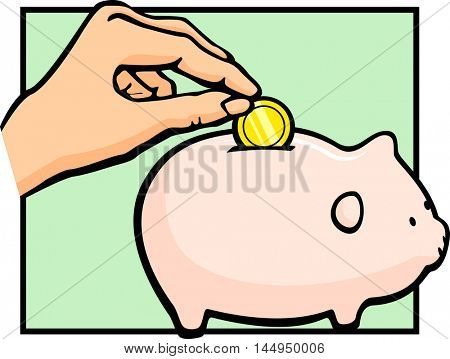 hand inserting a coin in a piggy bank