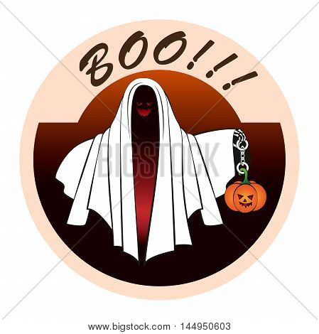 The Ghost with the pumpkin on the chain. Sticker for Halloween