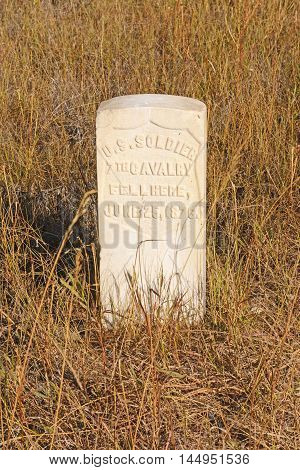 Gravestone at an Little Bighorn National Battlefield in Montana