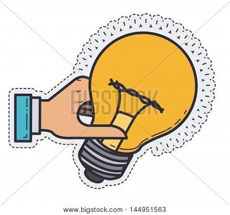 light bulb hand power energy icon. Colorful and Flat design. Vector illustration