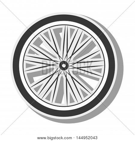 bicycle wheel tire spoked frame bike equipment vehicle silhouette vector illustration